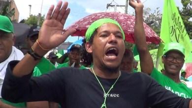 "Un manifestante ""verde"" ayer en San Pedro de Macorís"