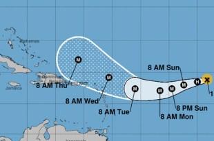 Posición de Irma a las 11.00 am del sábado 2 de Septiembre y posible trayectoria