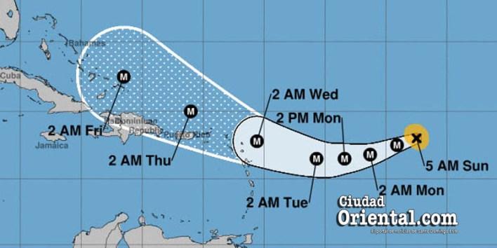 Este era el pronóstico del CNH sobre Irma a las 5.00 am del domingo tres de septiembre de 2017