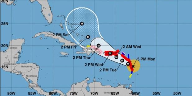 Posición del huracán maría a las 5.00 Pm del lunes 18 de septiembre y pronóstico para los próximos cinco días.