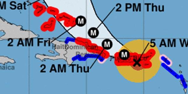 Pronóstico de la trayectoria del huracán María