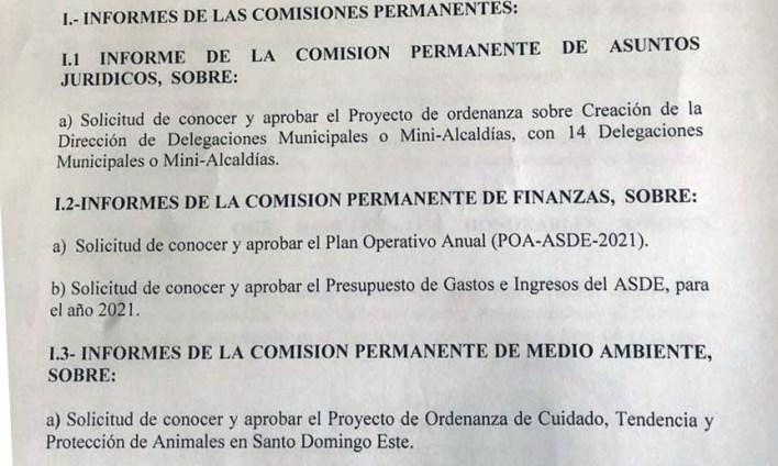 Agenda parcial de la sesión del 22 de Diciembre 2020