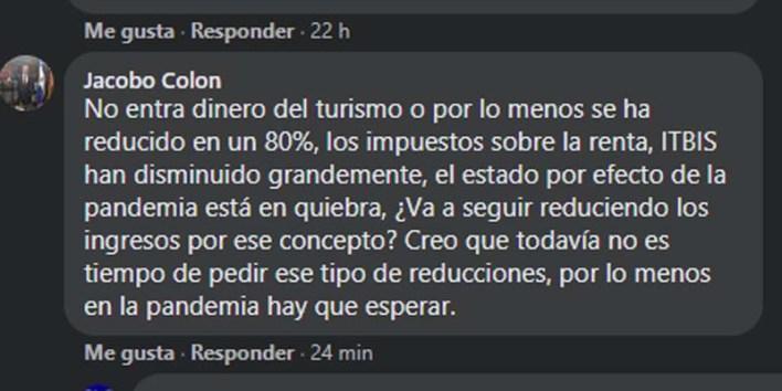 Captura de pantalla del comentario de Colón en FaceBook.