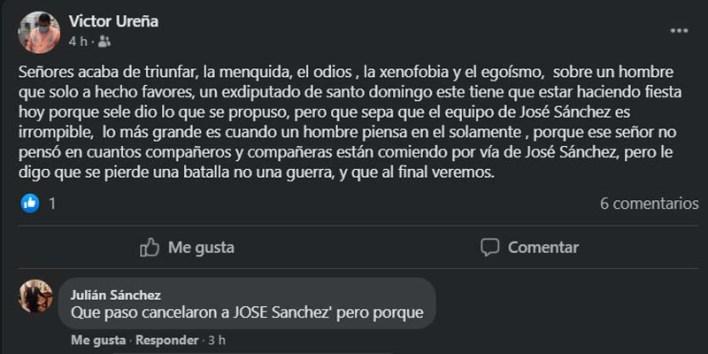Captura de pantalla del muro de Victor Ureña