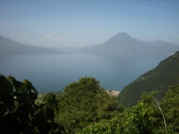 Lake Atitlan, surrounded by volcanoes, is one of the most beautiful sights in Guatemala.