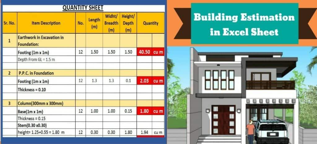 Building Estimate | Building Estimate Format In Excel | Estimation and Costing of Building