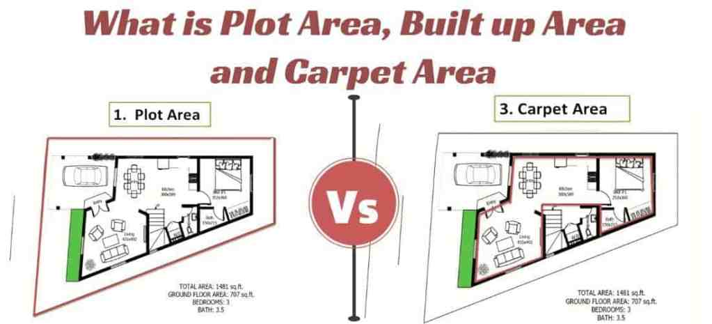 What is Plot Area, Built Up area and Carpet Area