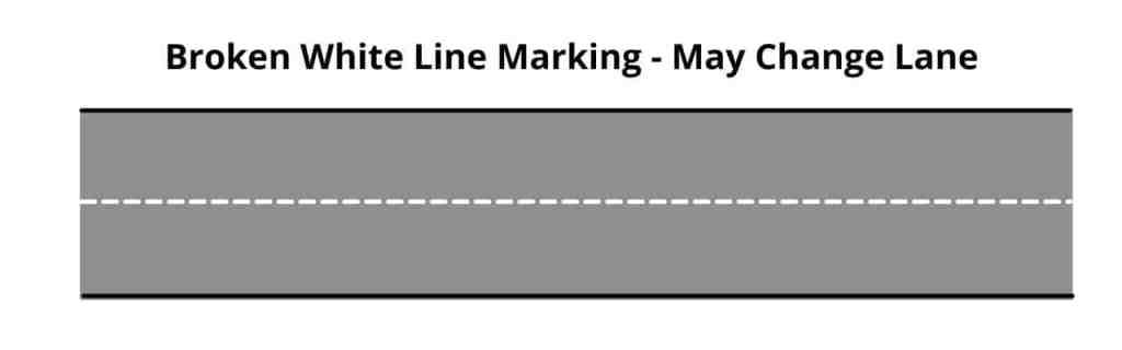 Broken White Line Pavement Markings - Vehicles May Change Lane