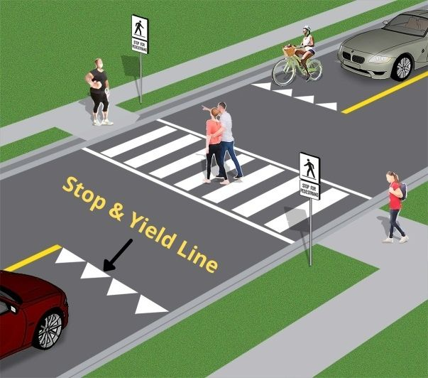 Stop and Yield Lines road pavement markings