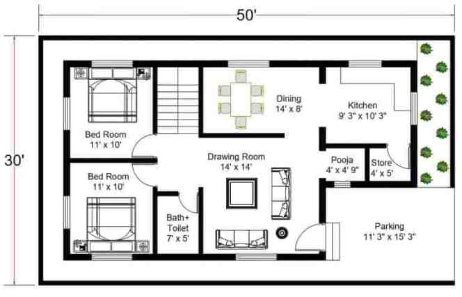 2.5 BHK House Plan