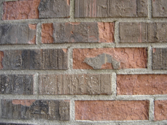 Spalling of brickwork