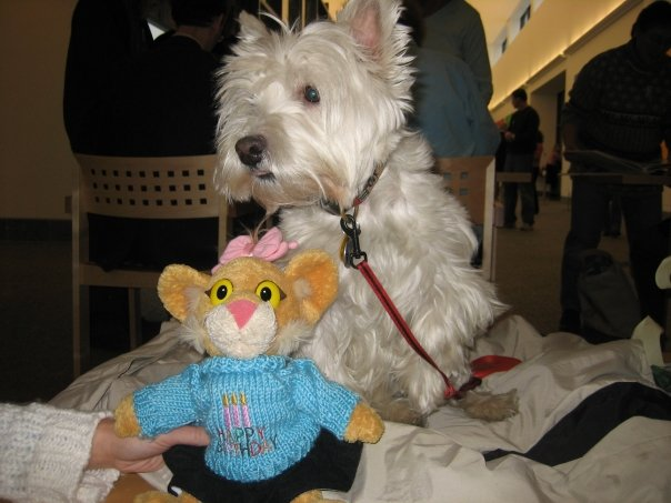 Leona with the real McDuff (aka Sophie), star of Rosemary Wells's books