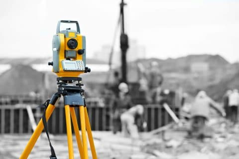Total-Station instrument at site