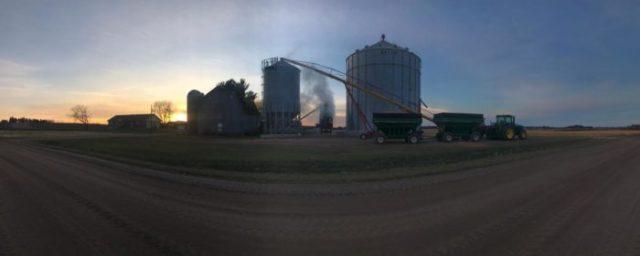 Sunset harvest on the farm
