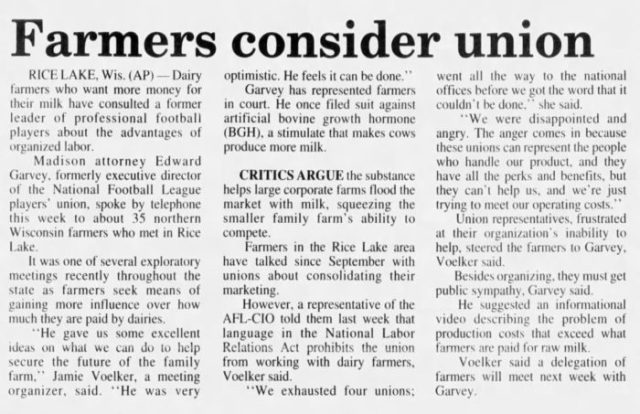 """newspaper article titled """"farmers consider union"""""""