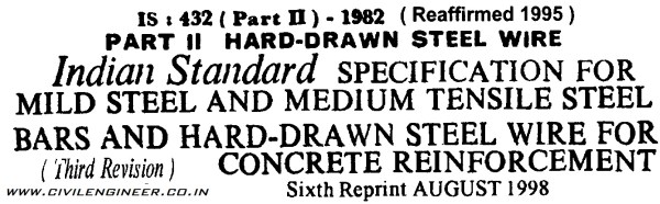 IS 432 - 1982 Part 2 Reinf. for Concrerete - Hard Drawn Steel Wire