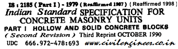 is 2185 part 1 1979 specification for concrete masonary blocks