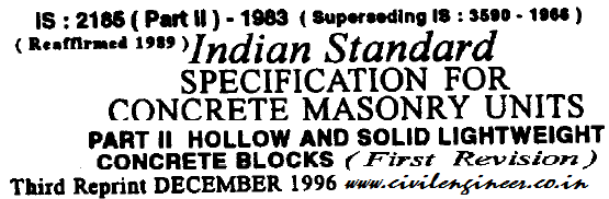 is 2185 part 2 1979 specification for concrete masonary blocks