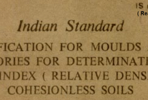 IS 10837 1984 INDIAN STANDARD SPECIFICATION FOR MOULDS AND ACCESSORIES FOR DETERMINATION OF DENSITY INDEX (RELATIVES DENSITY) OF COHESIONLESS SOILS