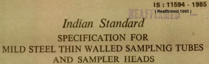 IS 11594 1985 INDIAN STANDARD SPECIFICATION FOR MILD STEEL THIN WALLED SAMPLING TUBES AND SAMPLER HEADS