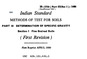 IS-2729 PART-3 SEC10-1980-INDIAN STANDARD METHODS OF TEST FOR SOILS PART-3 DETERMINATION OF SPECIFIC GRAVITY SECTION 1 FINE GRAINS SOILS FIRST REVISION (2)