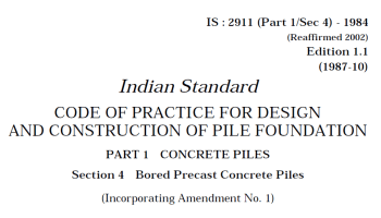 IS 2911 (PART 4)-1985 INDIAN STANDARD CODE OF PRACTICE FOR DESIGN