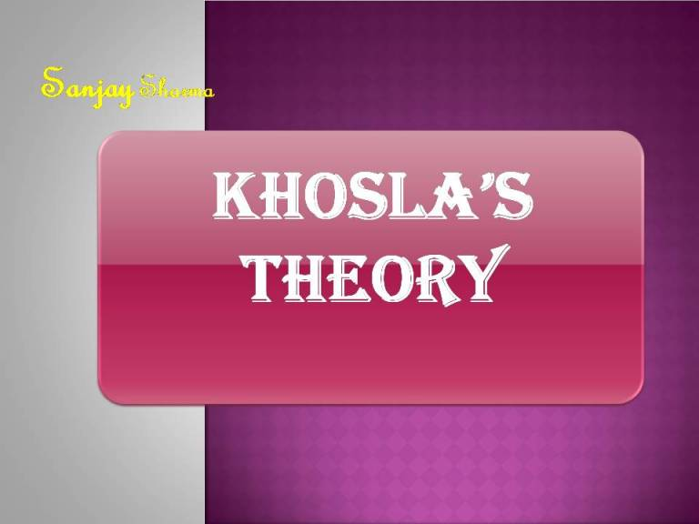 Read more about the article Khosla's Theory