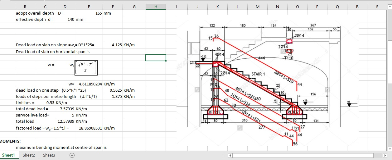 Design Of Reinforced Concrete Staircase EXCEL Spreadsheet ...