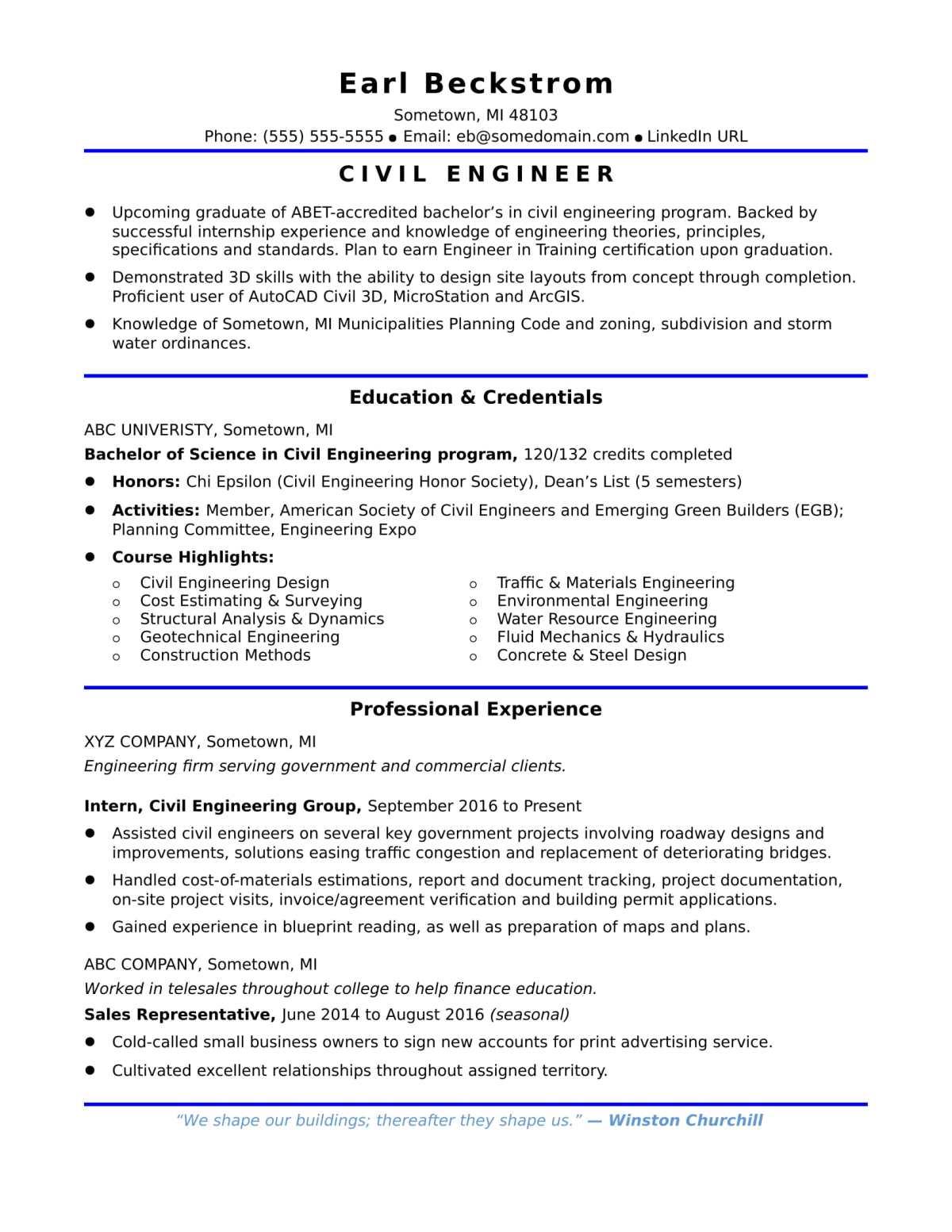 sample resume civil site engineers