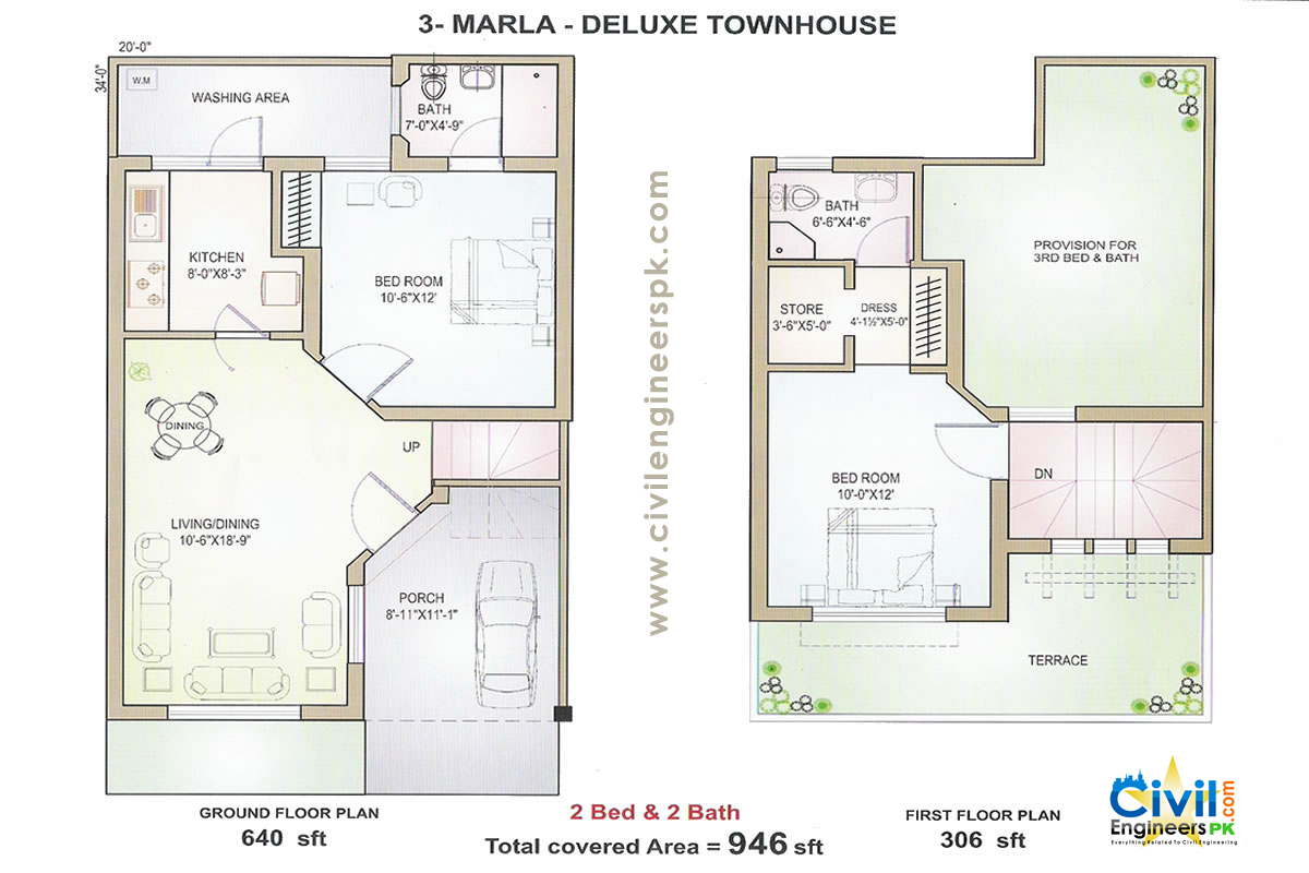 3 marla house plans civil engineers pk for Houde plans