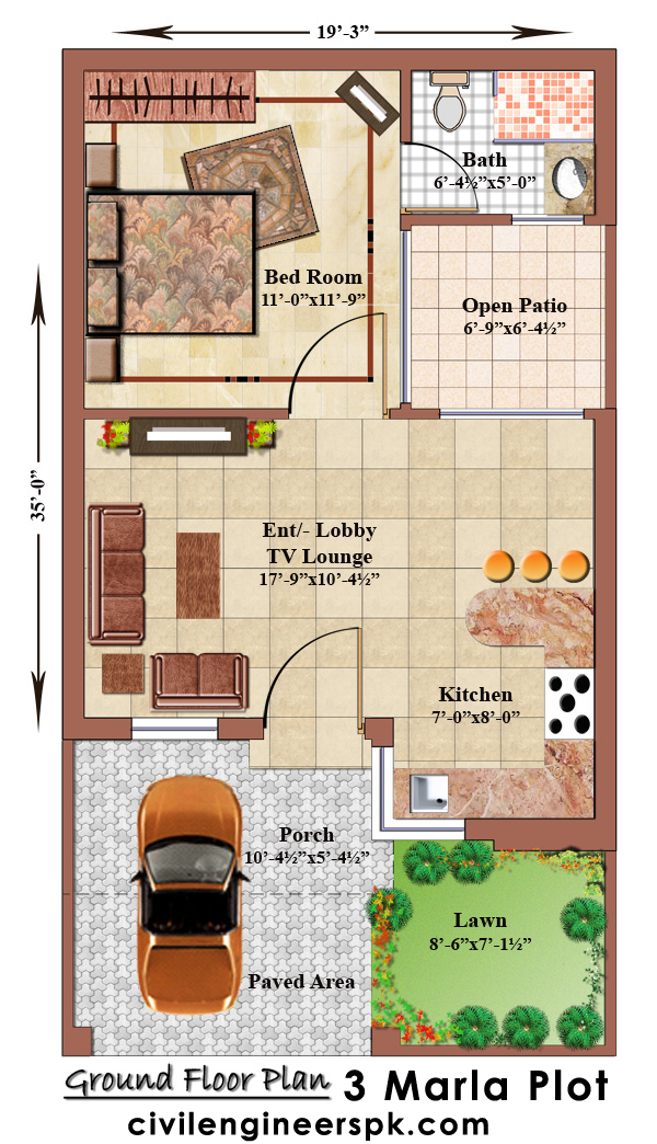 Marla House Plans - Civil Engineers PK