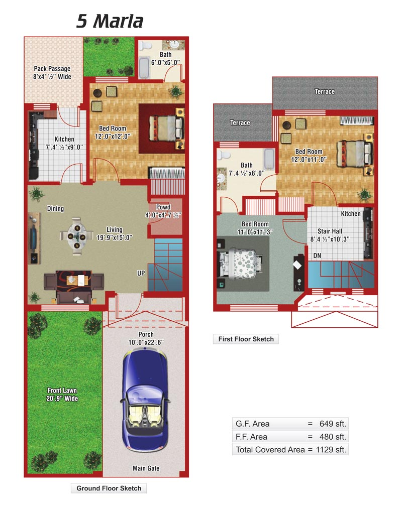 5 marla house plans civil engineers pk for 5 marla house modern design