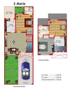 5 Marla House Plans Civil Engineers Pk