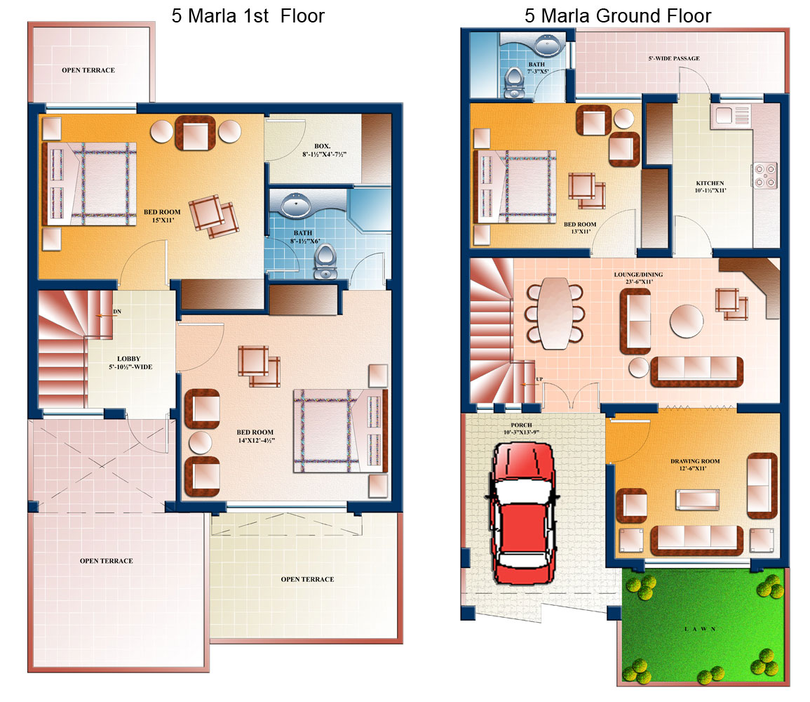 5 marla house plans civil engineers pk for 5 marla villas