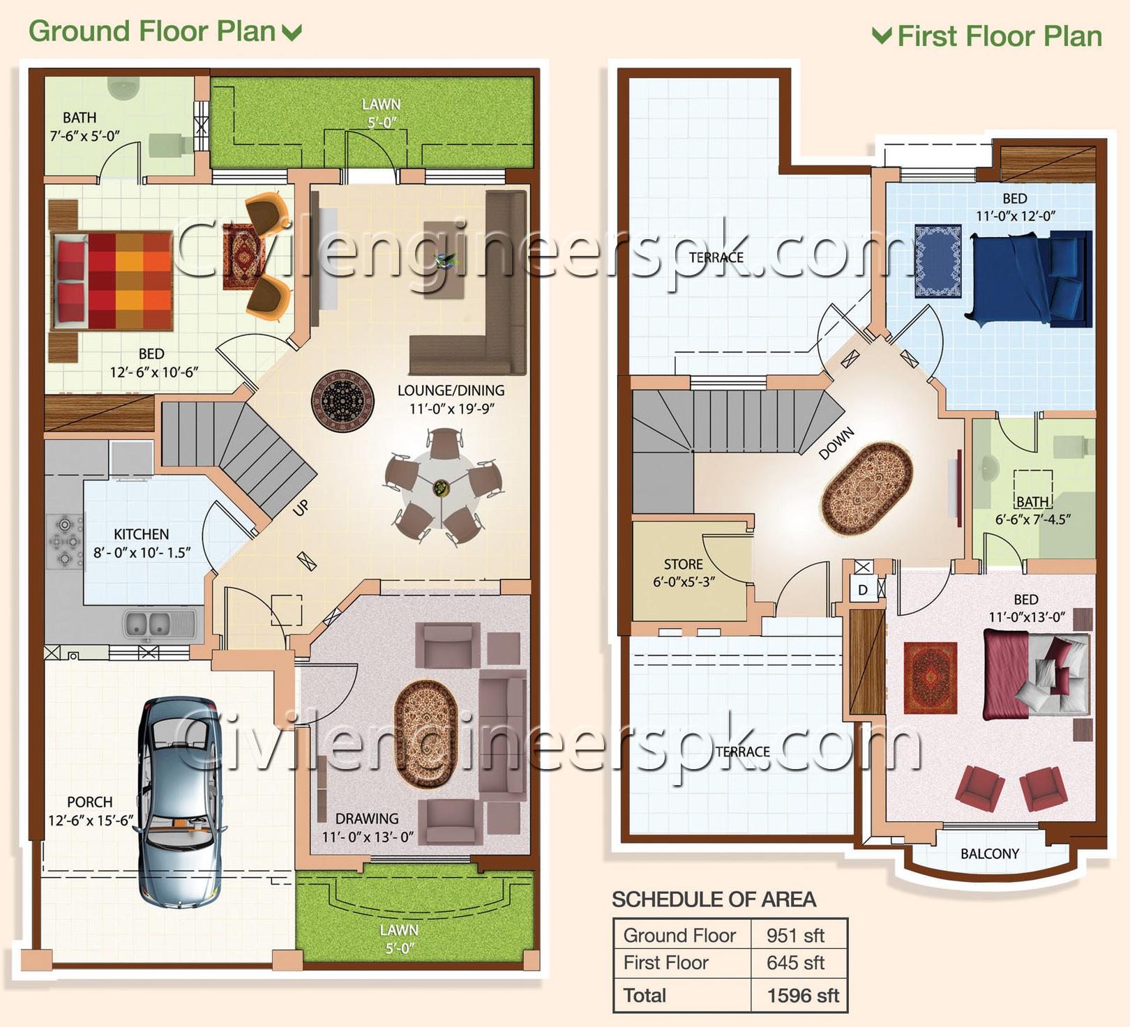 5 Marla House Plan Elevation Architecture Design: Civil Engineers PK