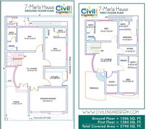 7 Marla House Plans  Civil Engineers PK