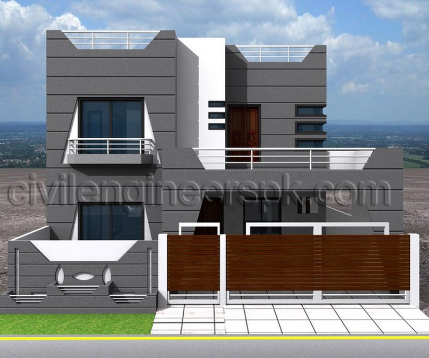 Front views civil engineers pk for Home garden design in pakistan