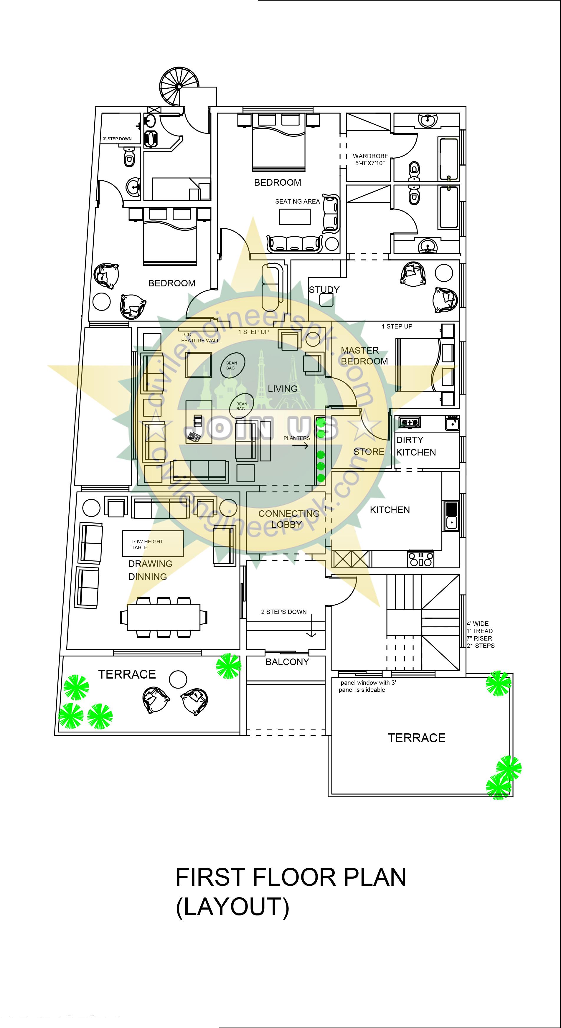 1 kanal house plan