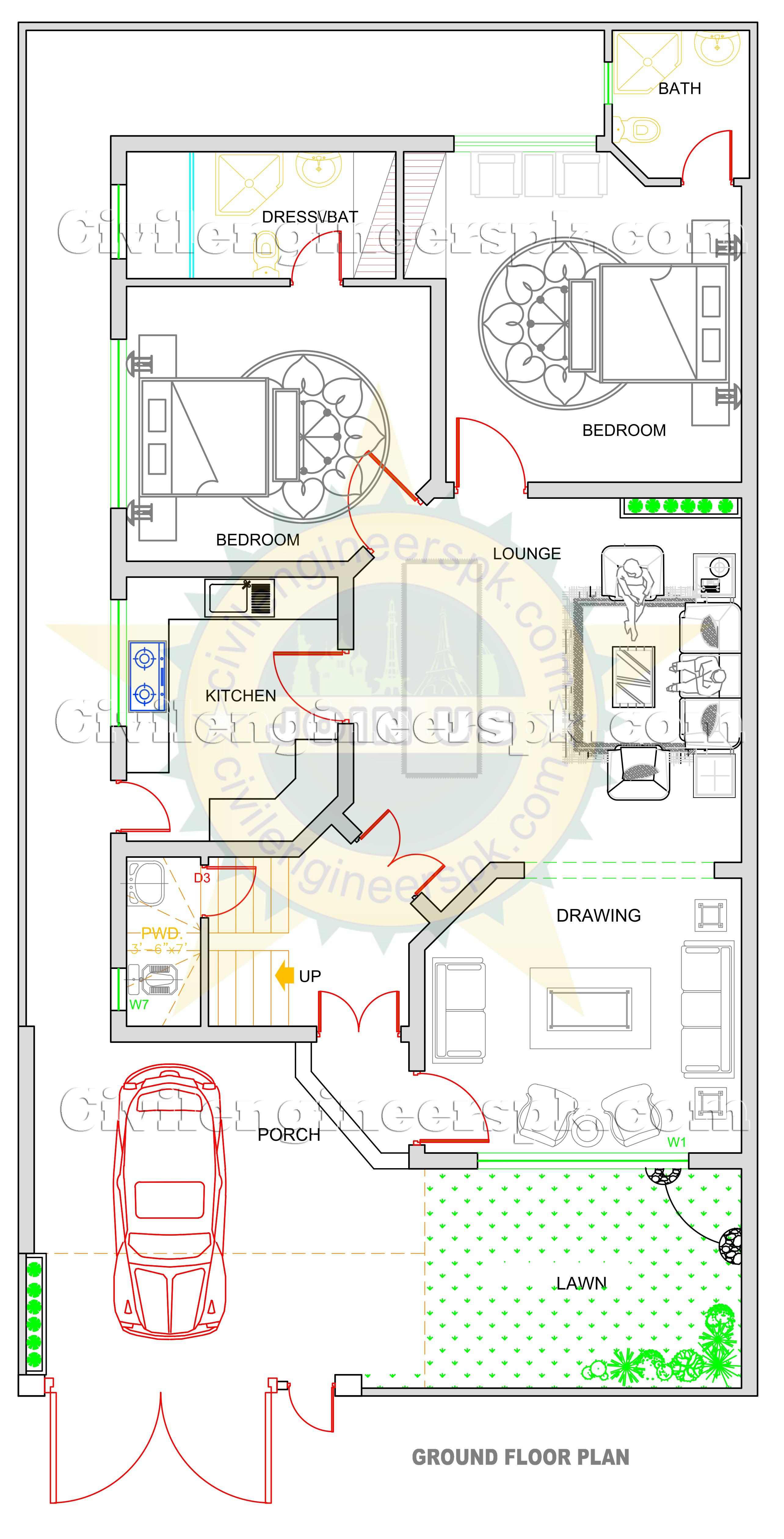 New 10 Marla House Design Civil Engineers Pk