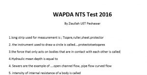 WAPDA NTS Test Questions