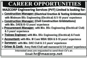 Jobs in MAZCORP Engineering Services