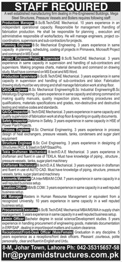 Staff Required In Pyramid Structures Civil Engineers Pk