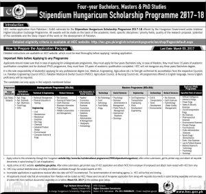 Stipendium Hungaricum Scholarship Program 2017-18
