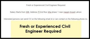 Fresh or Experienced Civil Engineer
