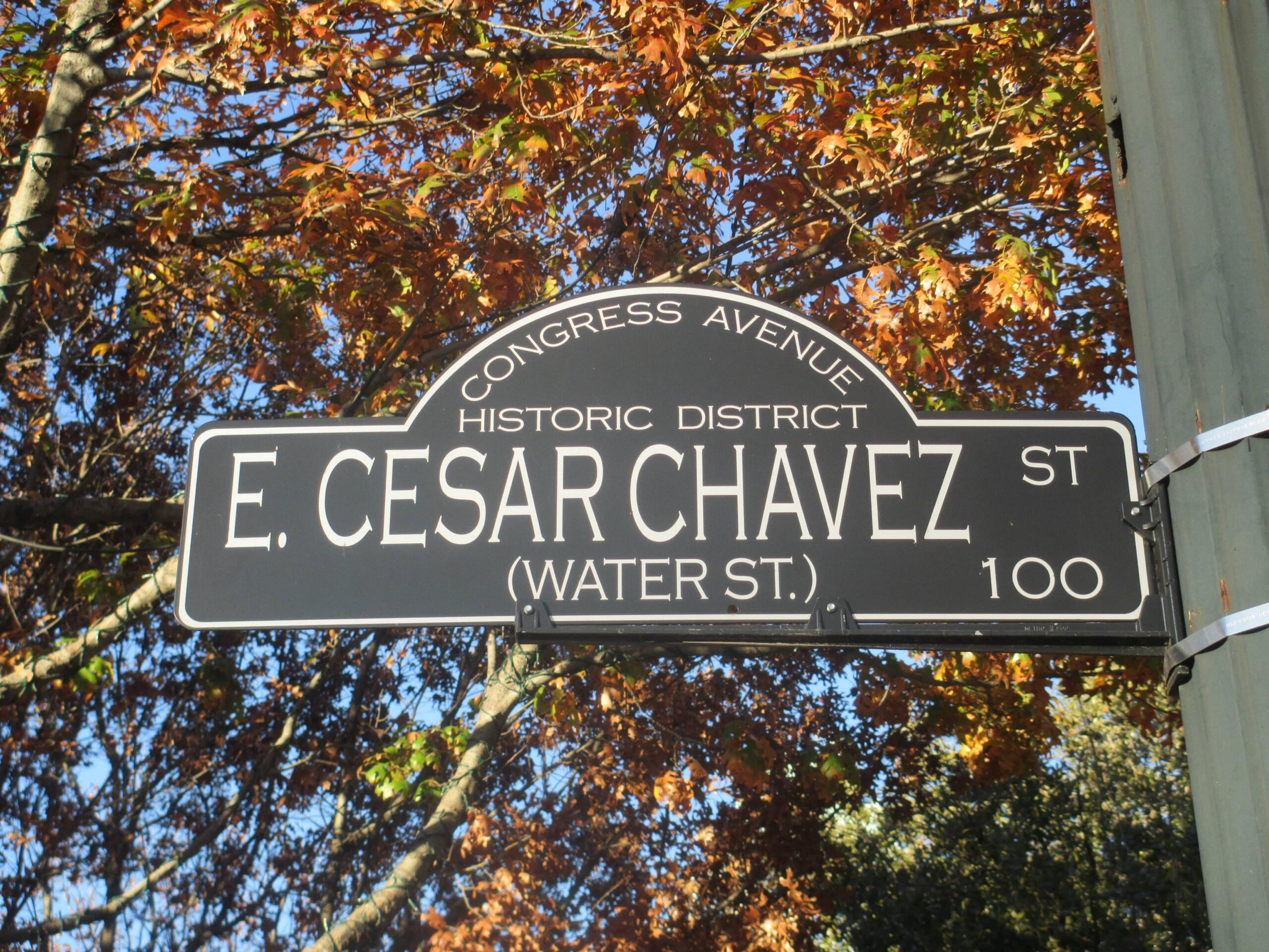 No machine-readable author provided. Billy Hathorn assumed (based on copyright claims)., Cesar Chavez Street sign in Austin, TXIMG 6250 , CC BY 3.0