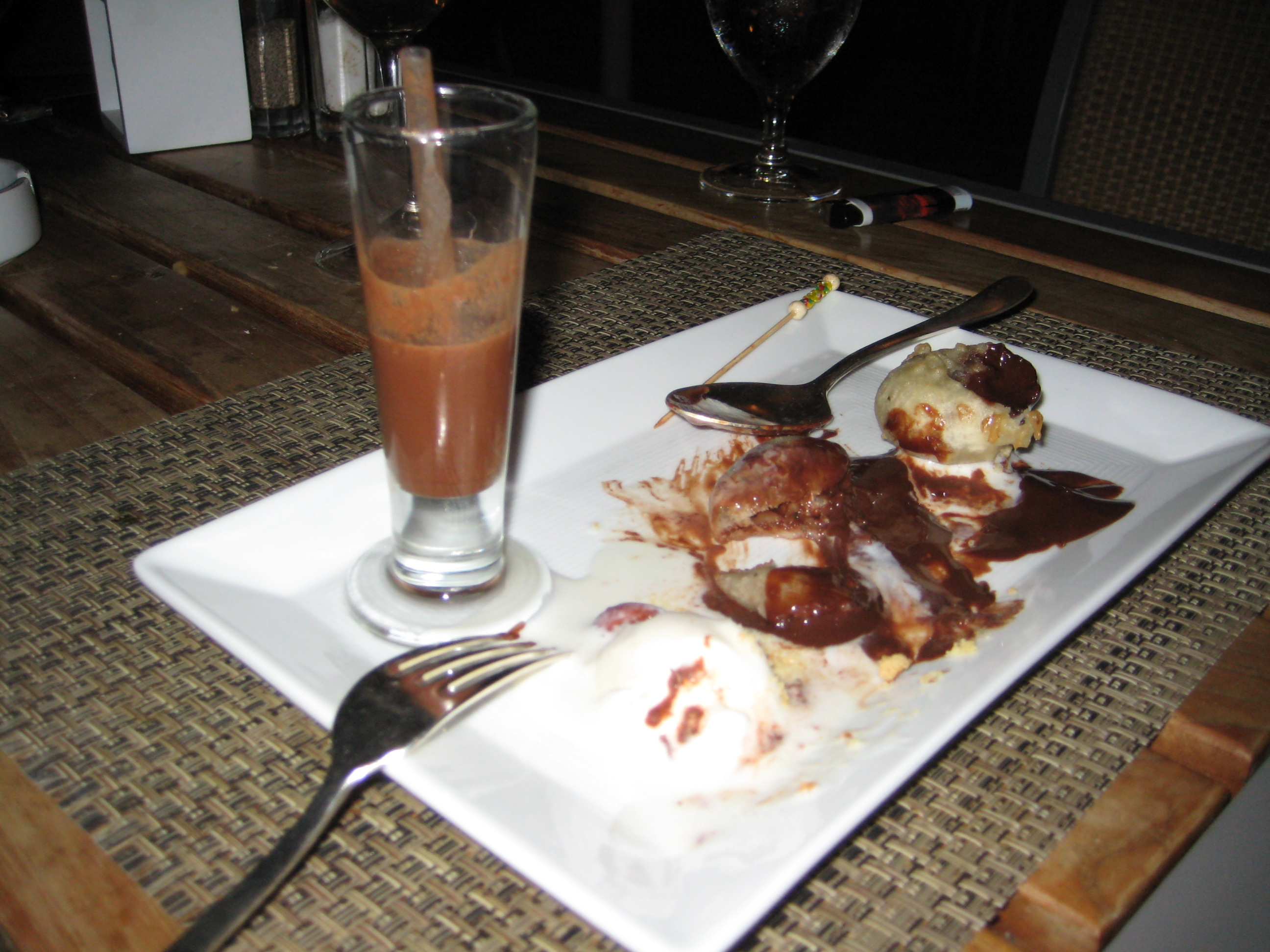 """Chocolate-filled donuts with a chocolate """"shot"""" and vanilla bean ice cream"""