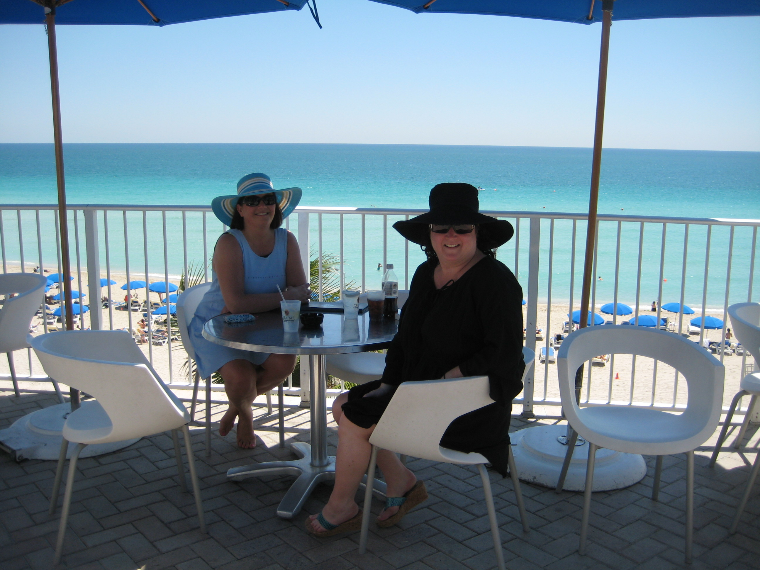 Giant beach hats are de riguer at the pool at the Trump in Miami