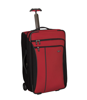 Colorful and sturdy, my trusty 24-inch Swiss Army suitcase goes around the world with me with the greatest of ease.