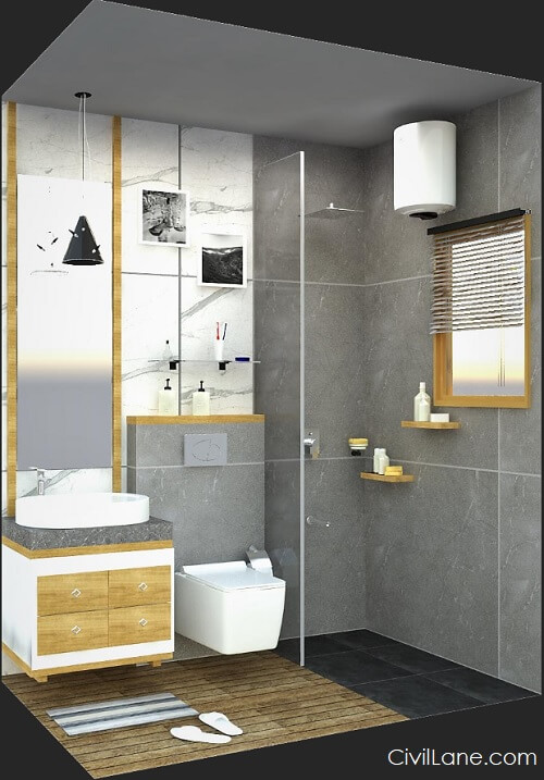 3D Isometric view complete bathroom storage accessories glass partition