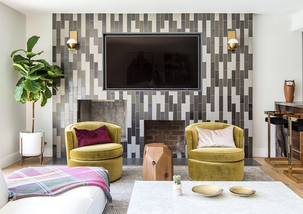 Inlaid wall highlighter tiles